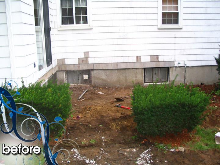 new england landscaper Melrose, MA before: paver patio, stucco foundation, plantings