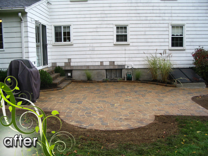 new england landscaper Melrose, MA after: paver patio, stucco foundation, plantings