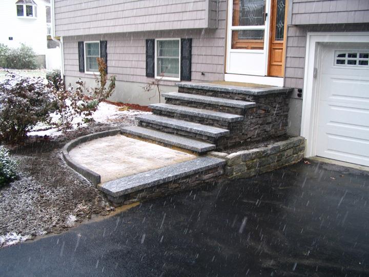 new england landscaper Billerica, MA cultured stone stairs