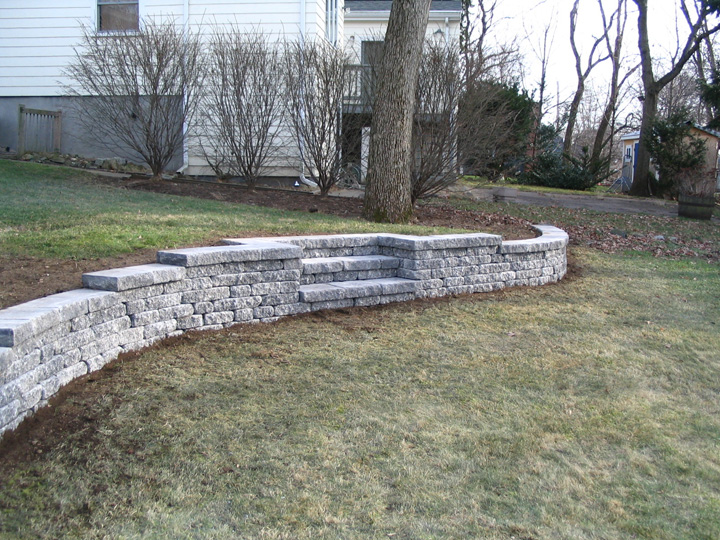 new england landscaper Arlington, MA retaining wall, stairs