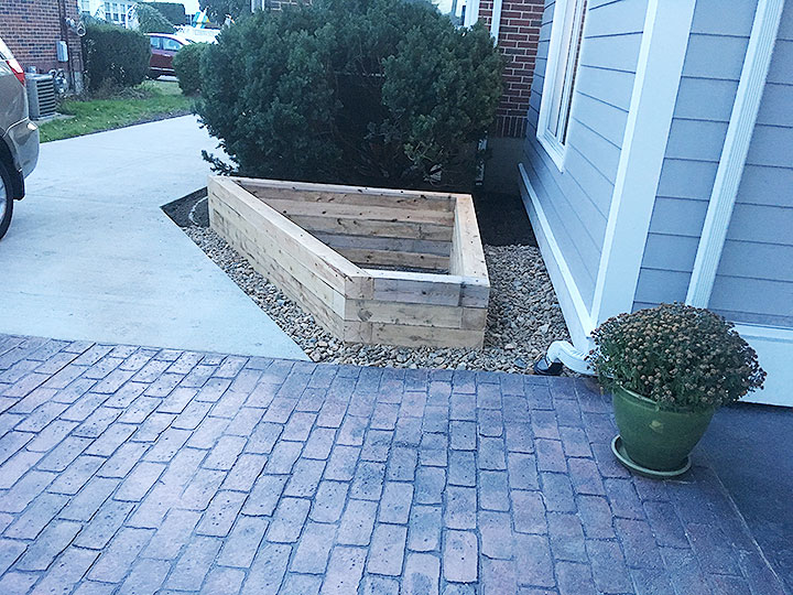 new england landscaper North Reading, MA above ground planter