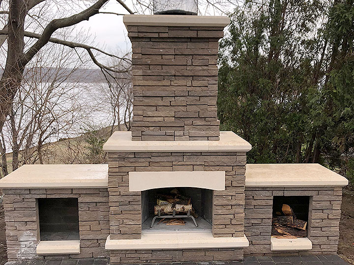 new england landscaper North Reading, MA stone outdoor fireplace