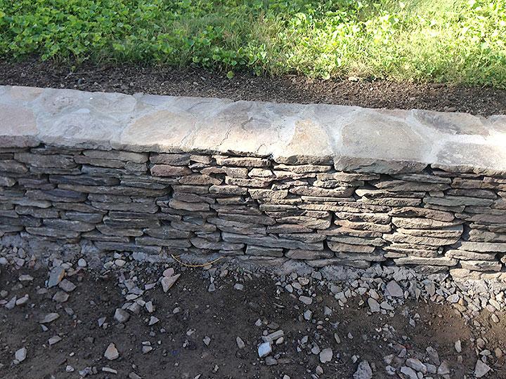 new england landscaper Andover, MA fieldstone wall