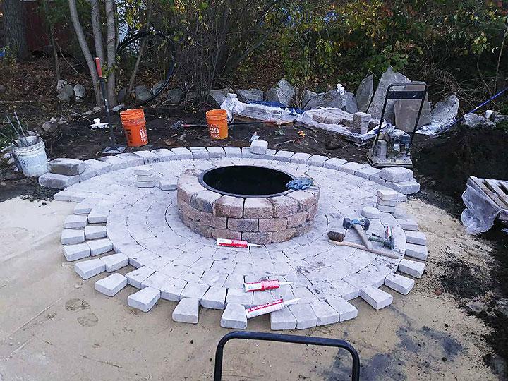 new england landscaper Andover, MA paver patio, stone block fire pit