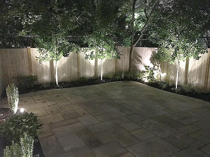 new england landscaper Andover, MA thermal bluestone patio, landscape lighting, plantings