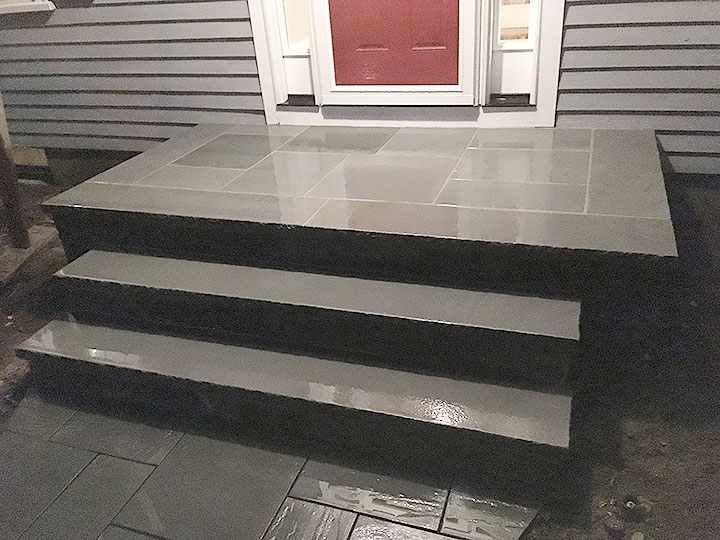 new england landscaper Andover, MA bluestone steps and walkway