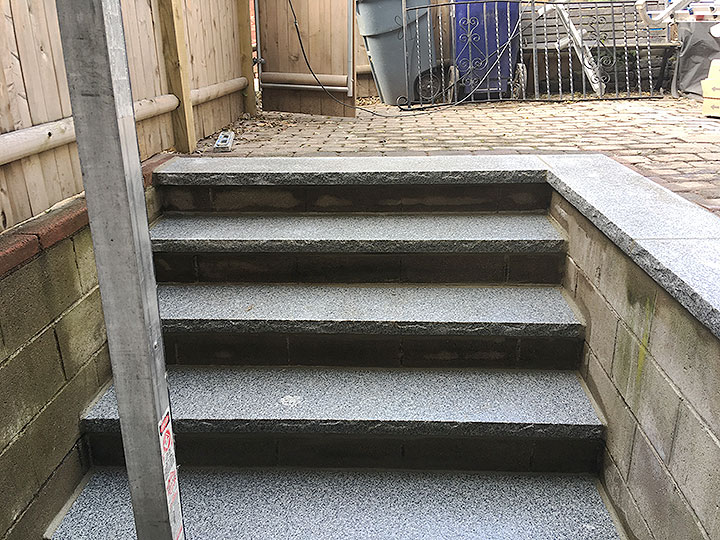 new england landscaper Andover, MA granite stairs