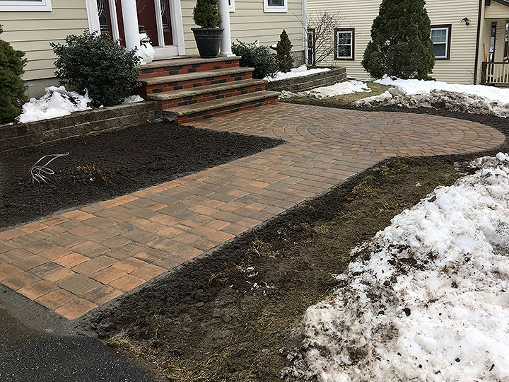 new england landscaper Andover, MA paver walkway