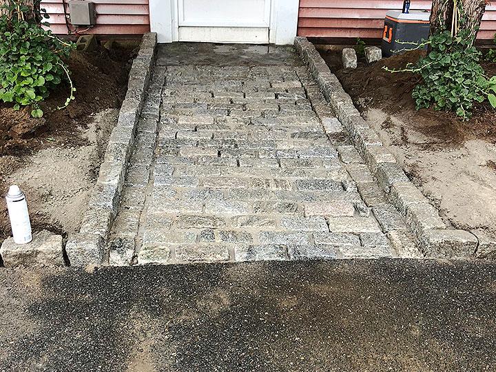 new england landscaper Andover, MA cobblestone walkway