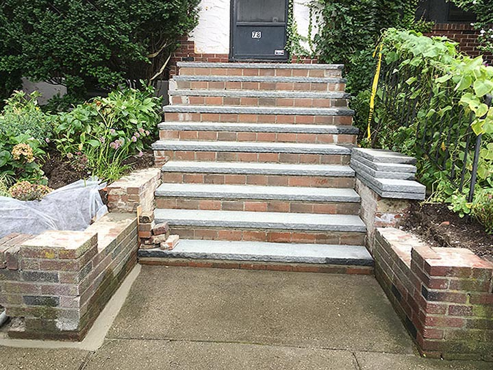 new england landscaper Andover, MA stair repair with granite treads