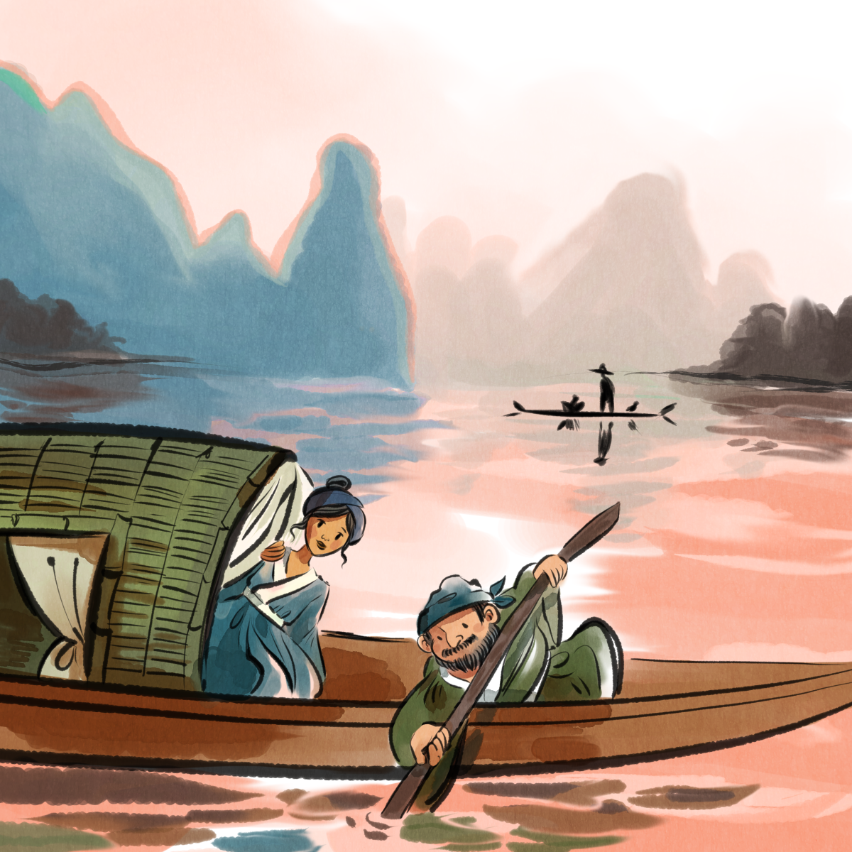 Watercolour style illustration. A Chinese fisher's boat floats on a river with sunset colours lighting up the water. Blue hills fade in the background. Two cartoon characters dressed in hanfu are on the boat.