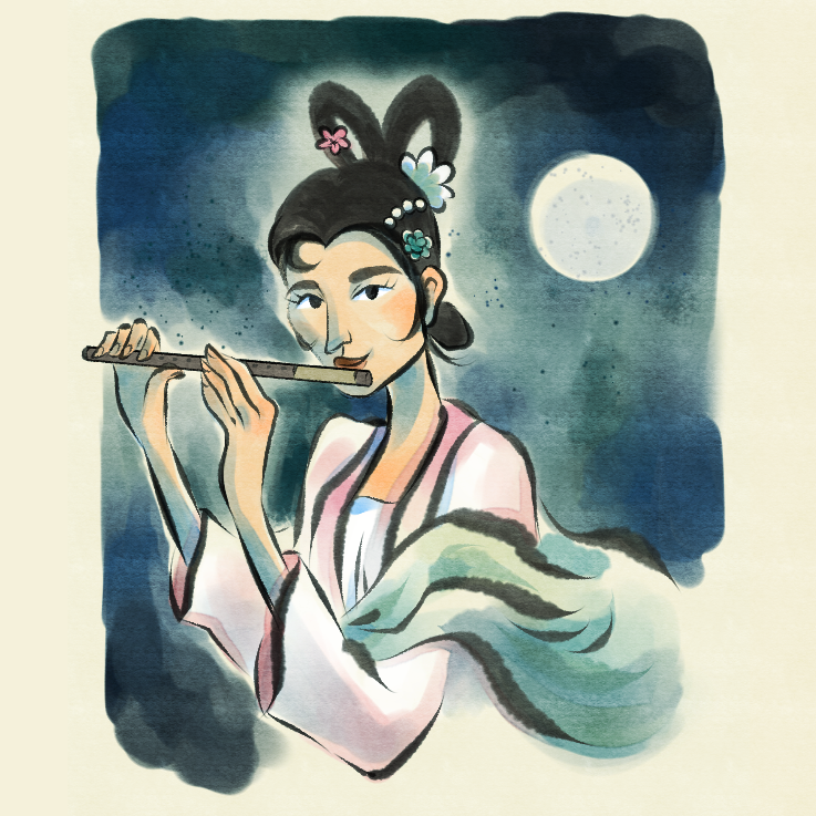 Illustration in an inky, watercolour style. A woman in traditional Chinese clothing plays the flute while floating in front of the full moon.
