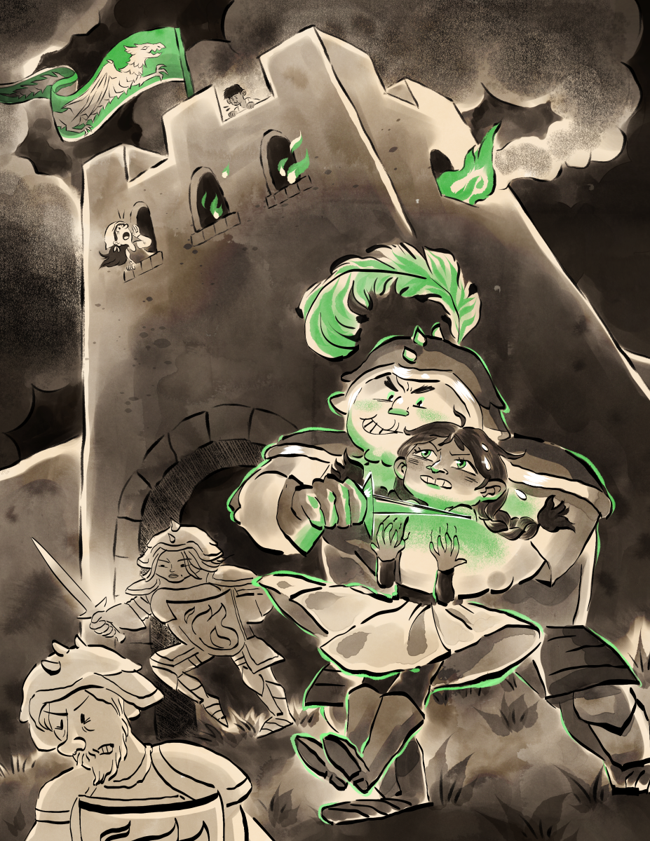 Black and white illustration with green accents, drawn in a humorous cartoony style. A young brown girl is grappled by a burly, cartoon bad guy who's grinning. Behind them, smoke rises from a castle window.