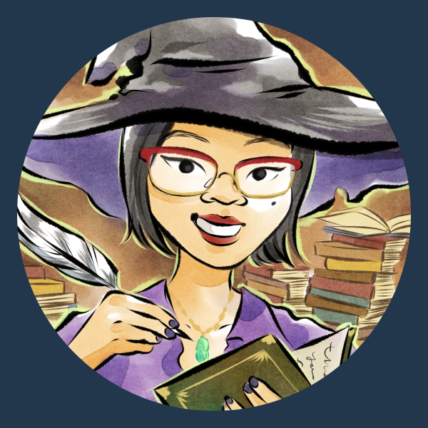 Cartoon portrait of a woman wearing glasses and a witch's hat, writing in a book with a quill.