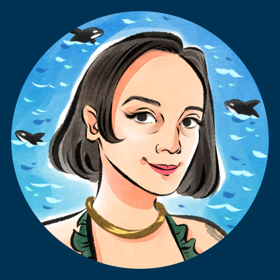 Cartoon portrait of a woman smiling at the camera, with an orca behind her.