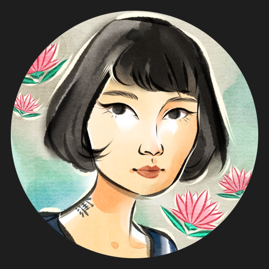 Cartoon portrait of a woman with a short black bob, surrounded by stylized water lilies.