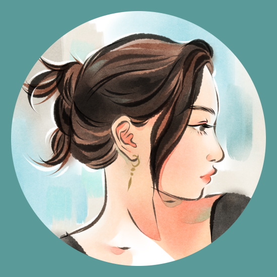 Cartoon portrait of a woman looking to the side.