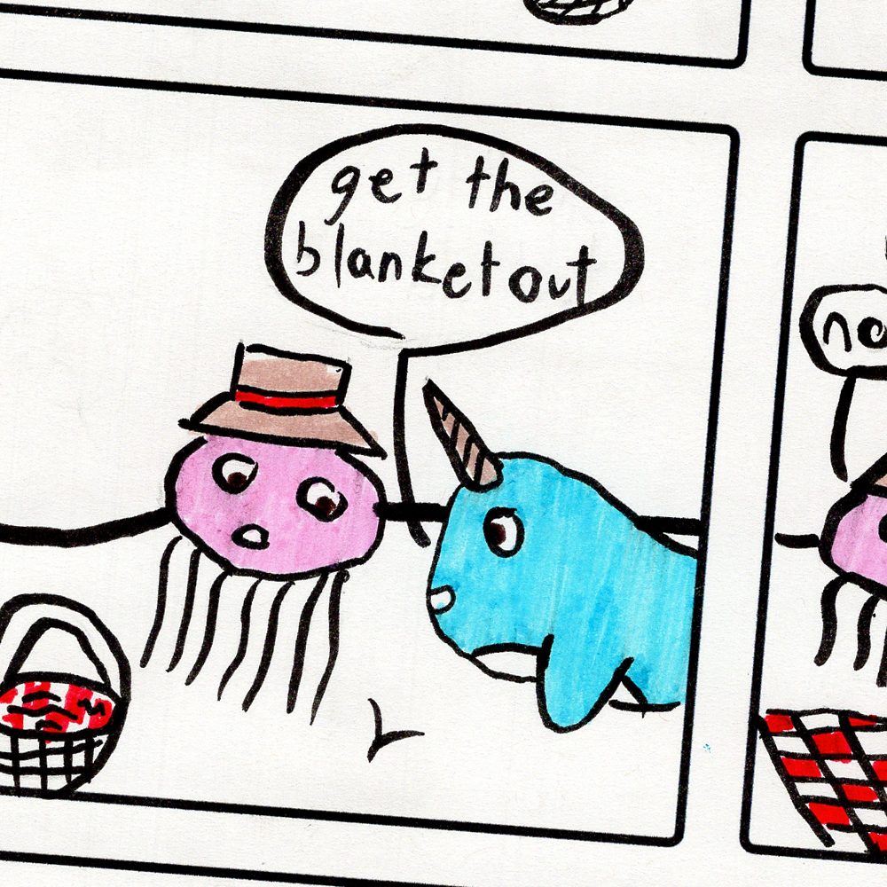 Snapshot of a comic page drawn by a young student.