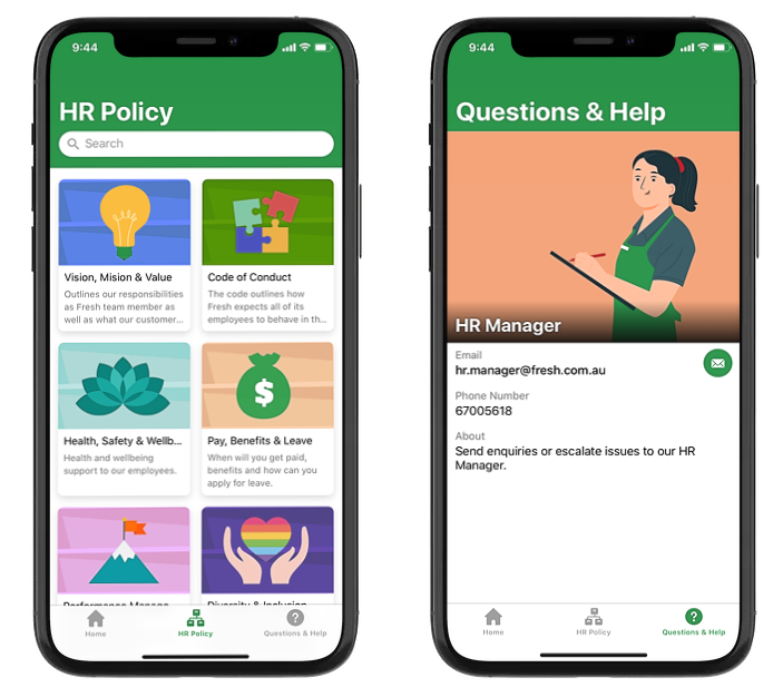 Fresh Supermarket HR guide is a mobile-friendly learning solution made available for the Fresh Supermarket employee to educate and enable HR policy support.