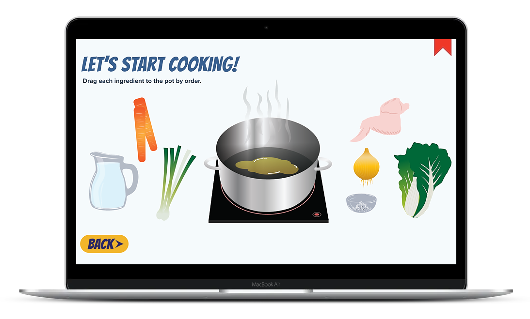How to Make a Chicken Soup is a custom example of vector graphics created in Storyline 360. This interactive learning content features a drag and drop experience.