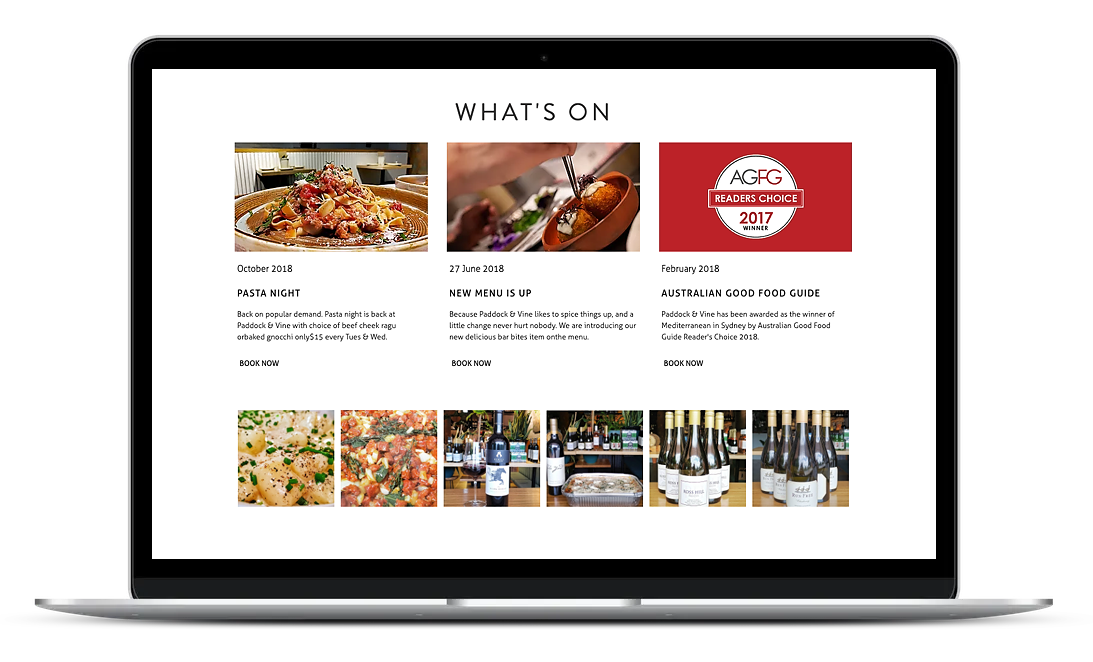 Paddock and Vine website is designed for an Italian Wine Bar in Mona Vale, New South Wales.