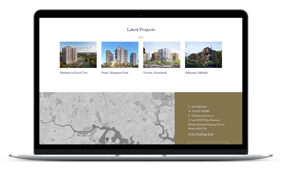 SeaCapital is a property management company based in Sydney. The website integrates a very intuitive design, a clean and neat layout with high-quality images.