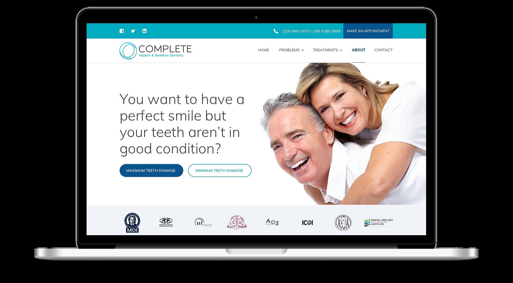 Dentistry website design template in Sydney