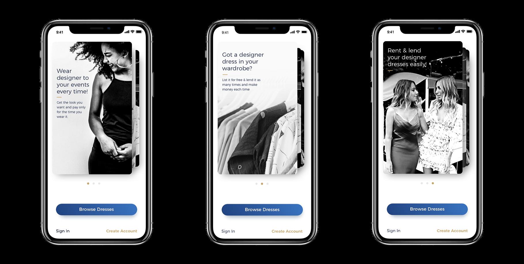 User interface design for dress sharing mobile app to rent dress in Sydney