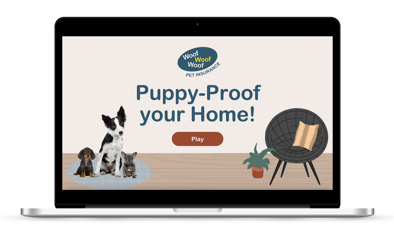 Interactive gamified elearning to puppy proof your home built in Storyline.