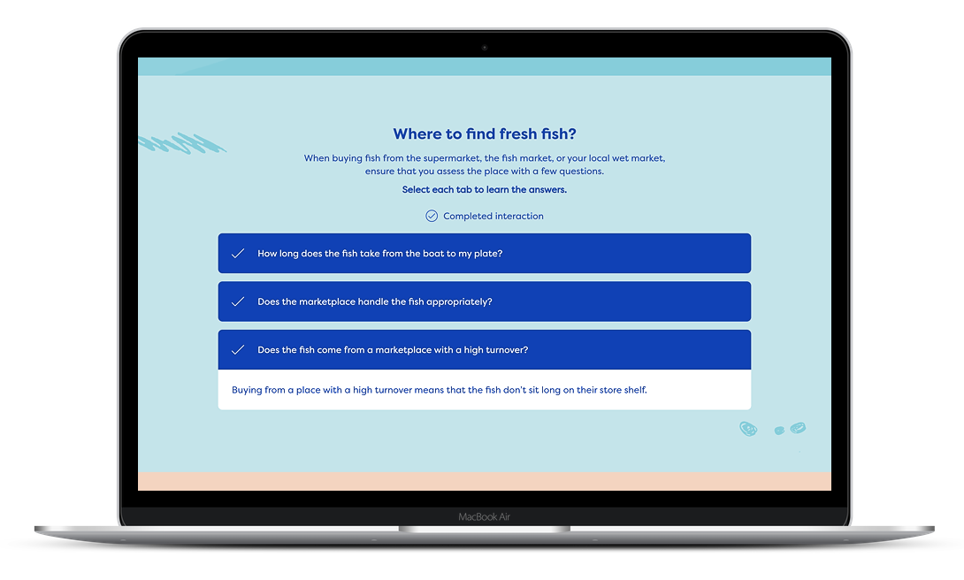 A fun and short elearning course to buying fresh fish built with Evolve authoring tool.