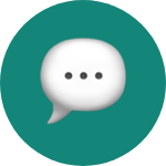 Message emoji on green rounded background