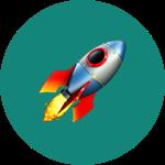 Rocket emoji on green rounded background
