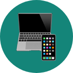 Laptop and mobile device emoji on rounded background