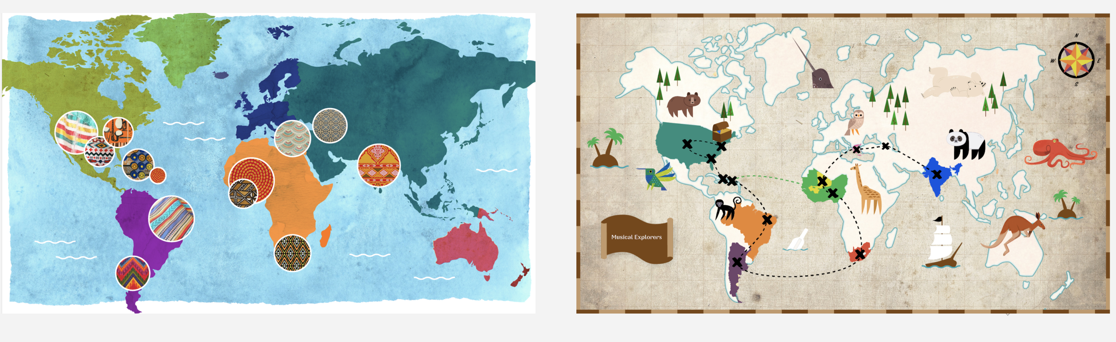Design explorations of the map styles.