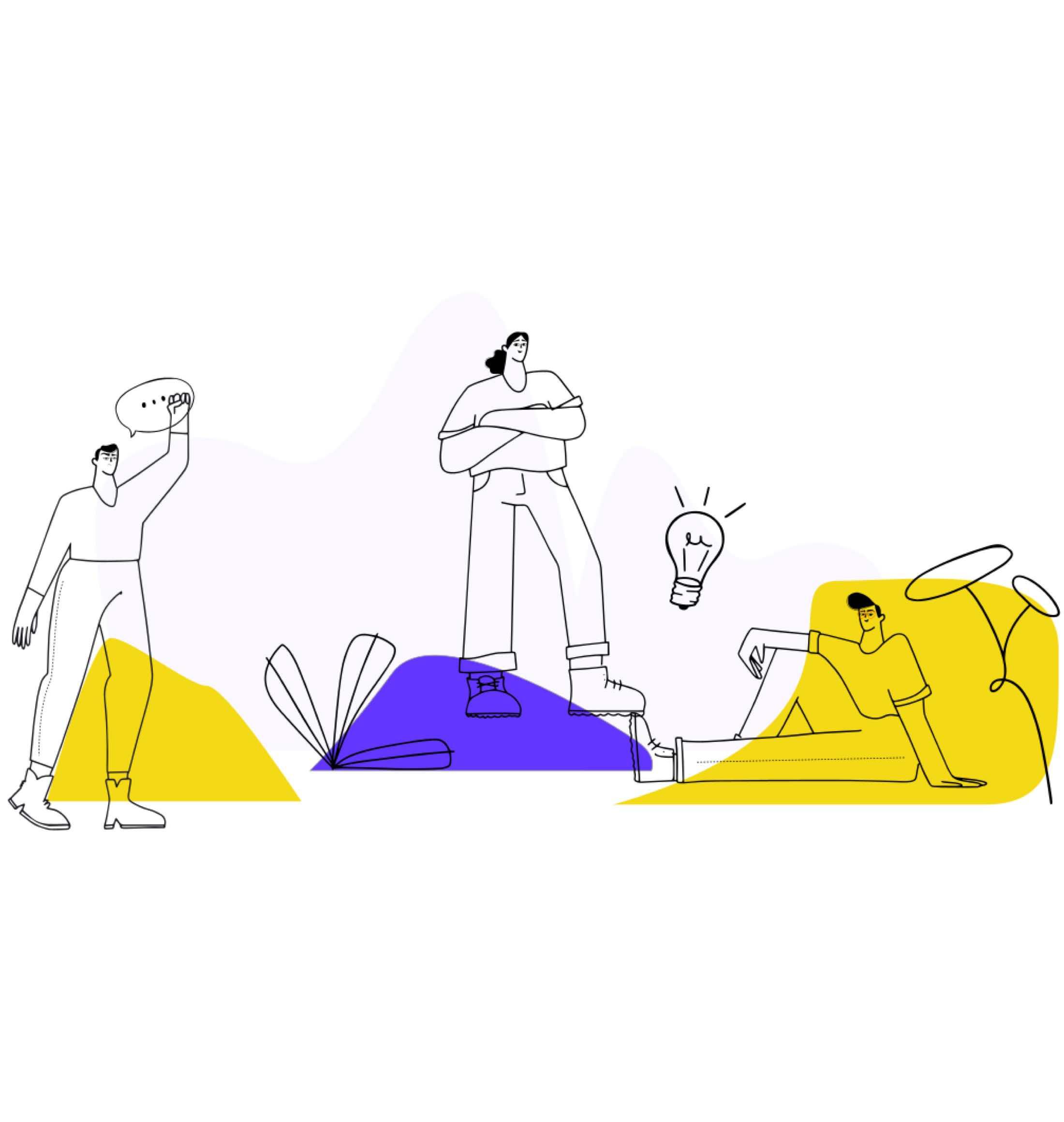 Illustration of three figures lounging