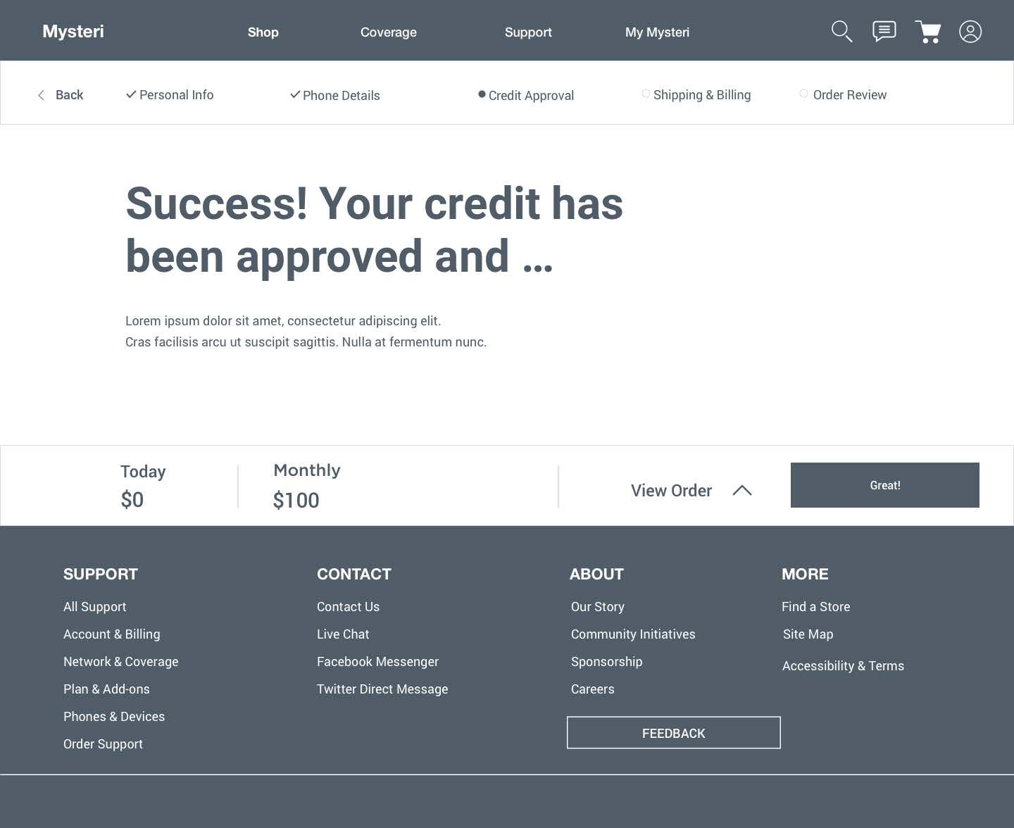 Approved credit screen