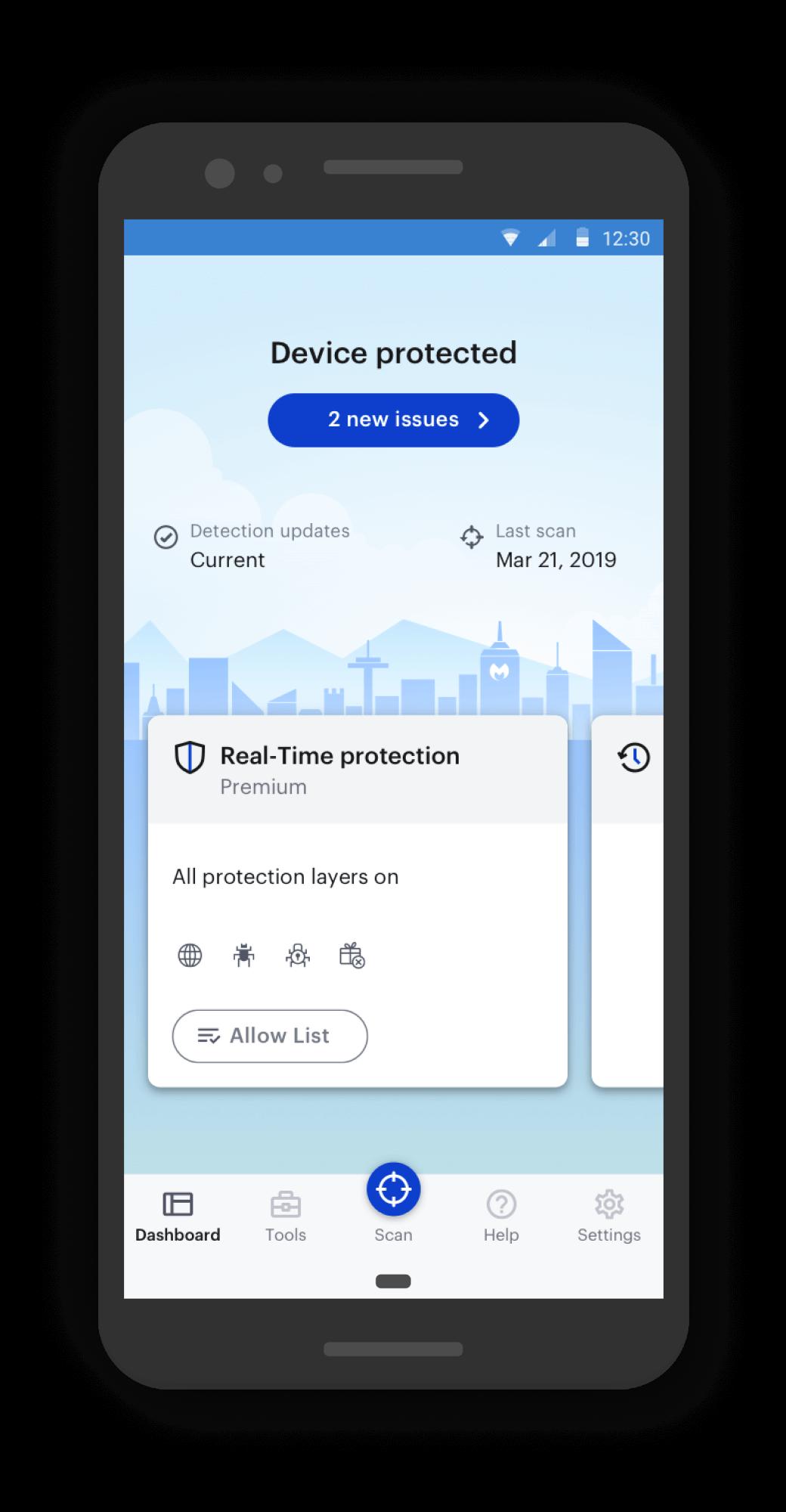 Malwarebytes for Android dashboard