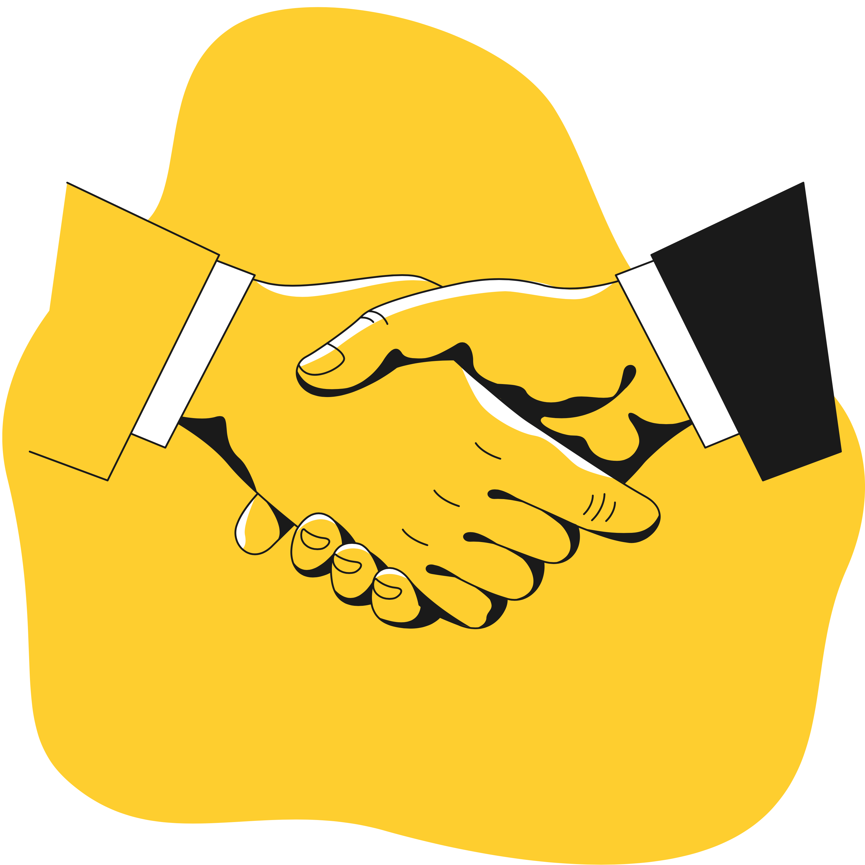 Business people shaking hands, only the clasped hands are shown.