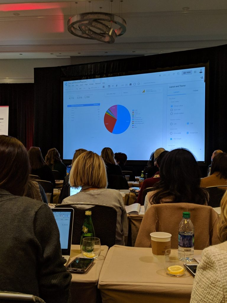talking anyaltics and dashboards for interior designers at the conference