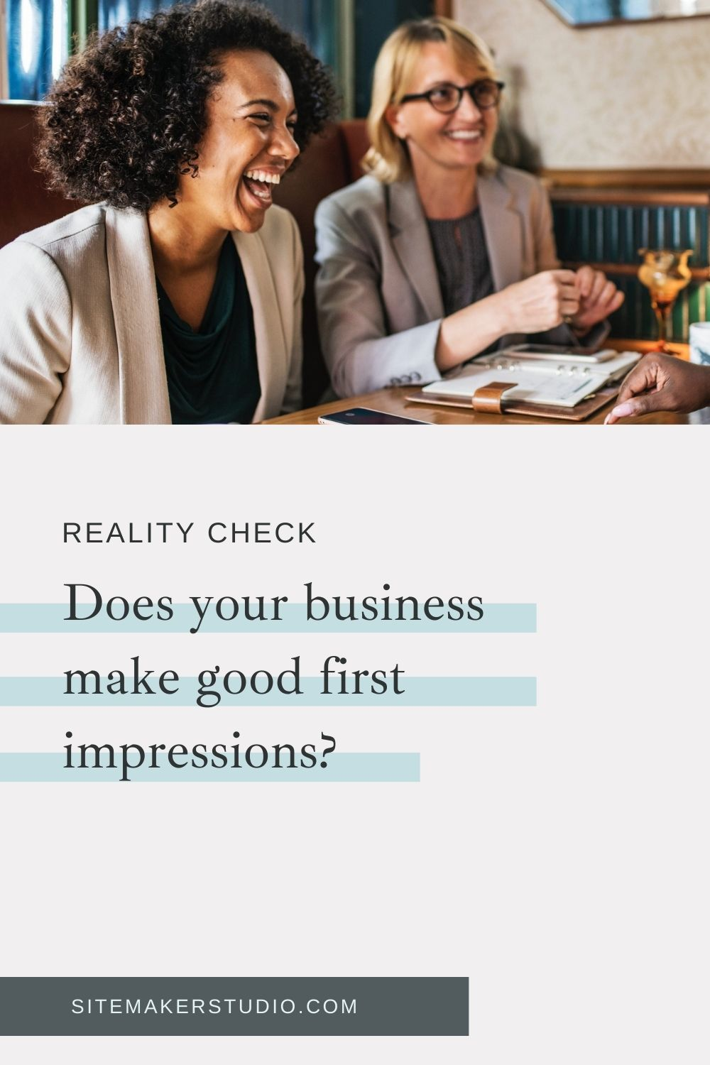 two clients having a chat about process and evaluating their web design business  improve your client and potential client first impression with these tips and how tos 