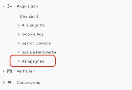 Google analytics kampagnenauswahl