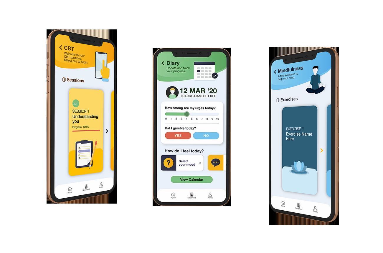 RecoverMe app screens