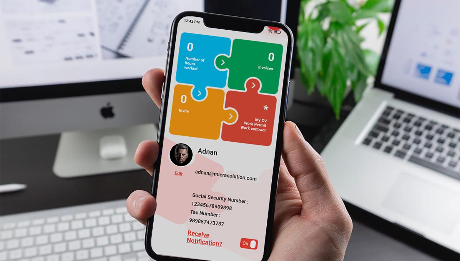 Way2Work mobile app profile screen
