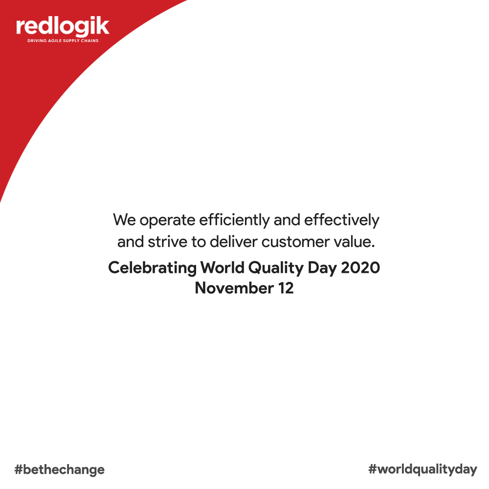 World Quality Day 2020. Redlogik, driving agile supply chains.