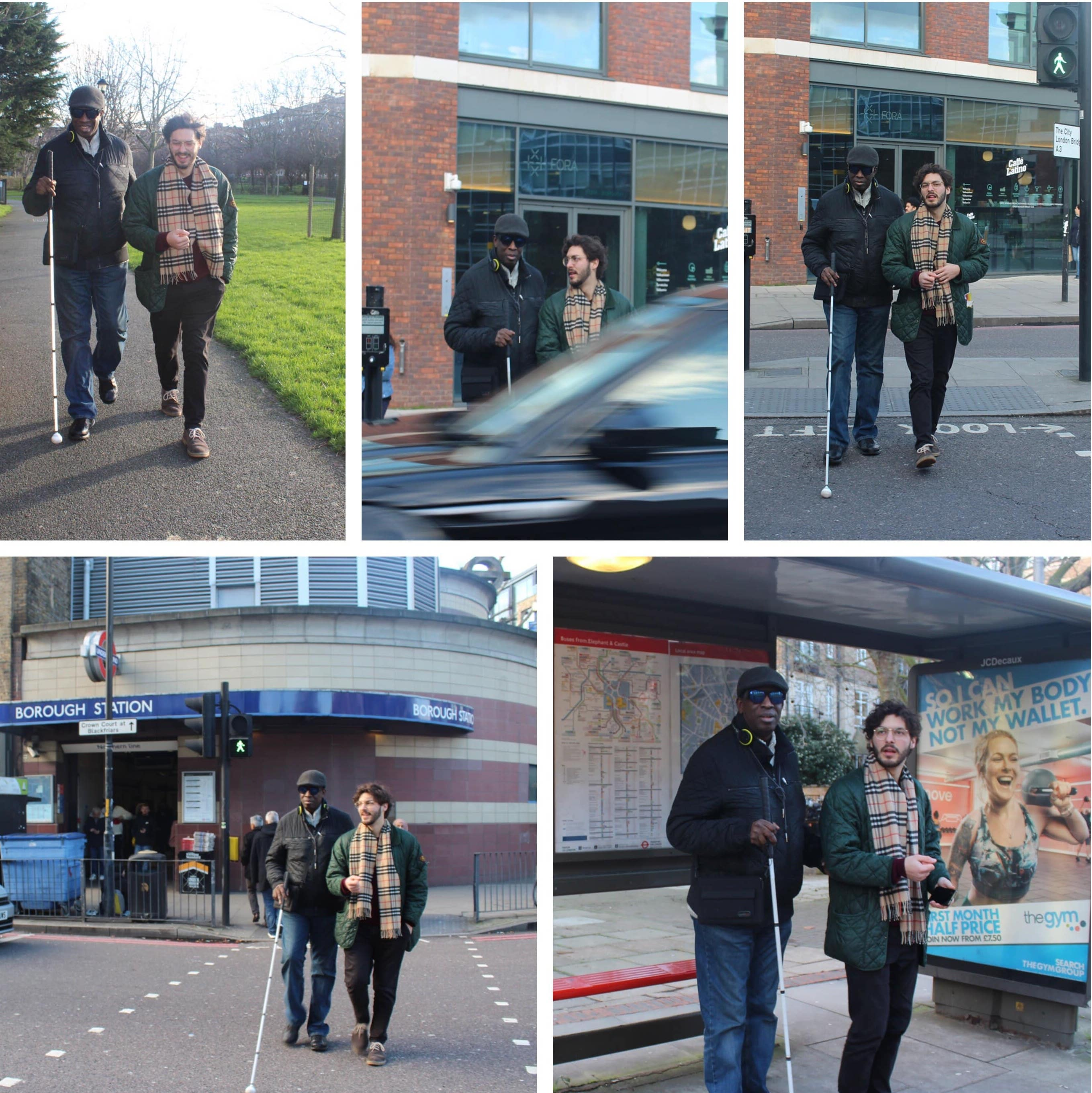 collage of photos from volunteer's and visually impaired person journey