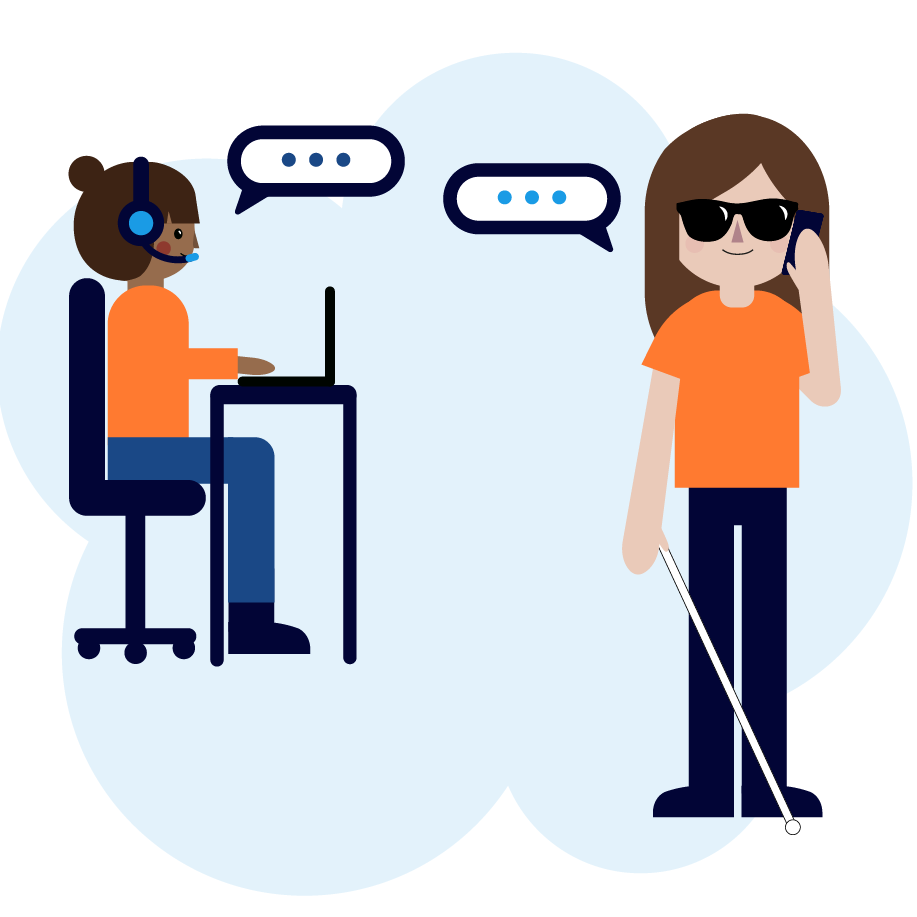 Call center service talking with visually impaired girl