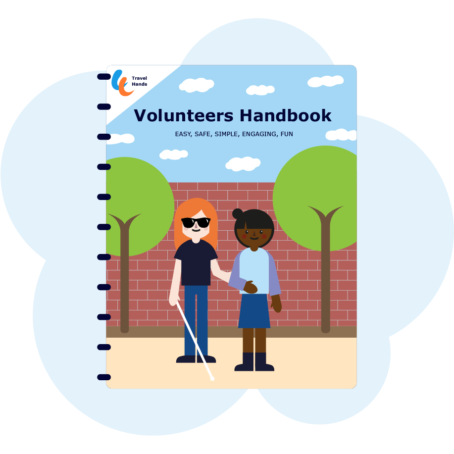 The cover from handbook with visually impaired person and volunteer