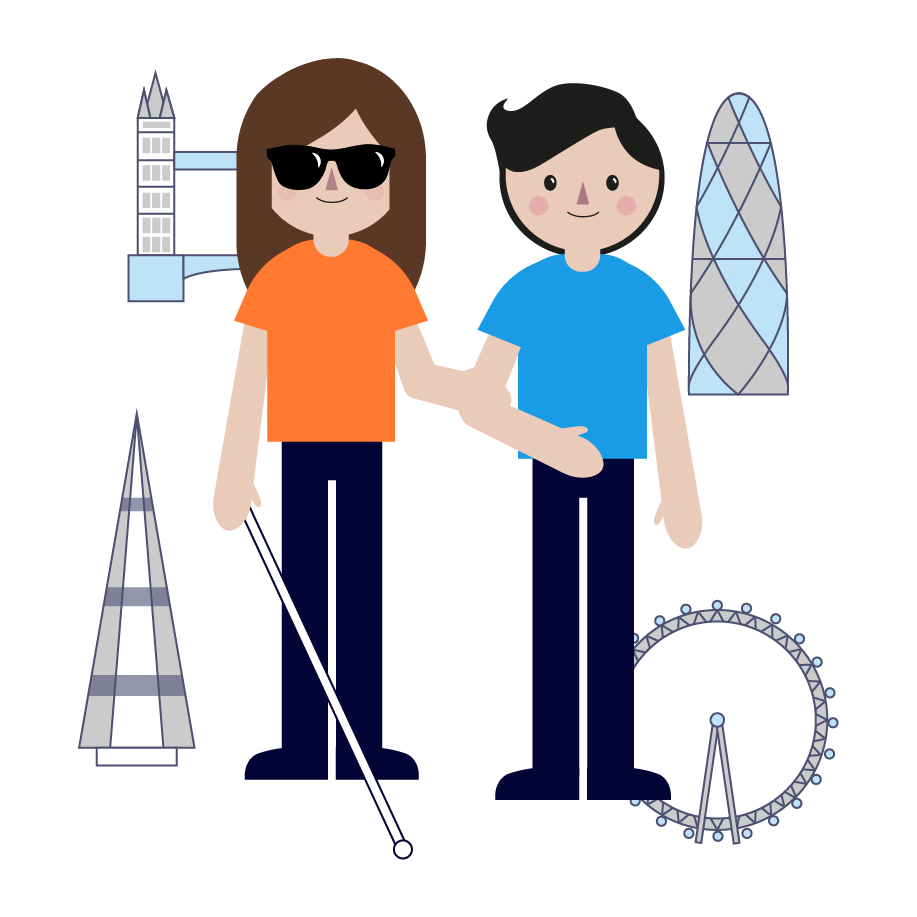 Smiling visually impaired girl walking with volunteer in London