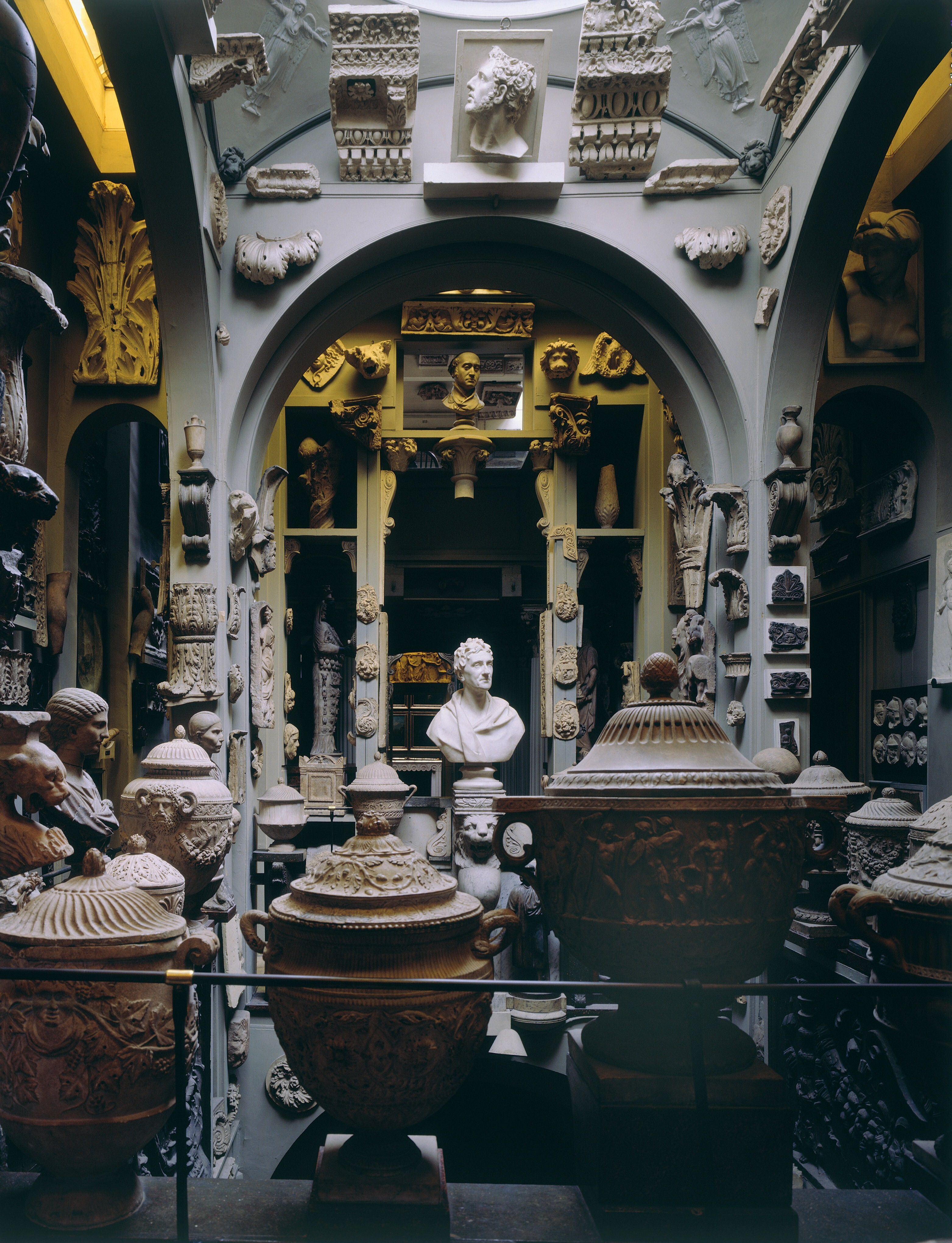 Picture showing various sculptures and artefacts inside the museumClassic