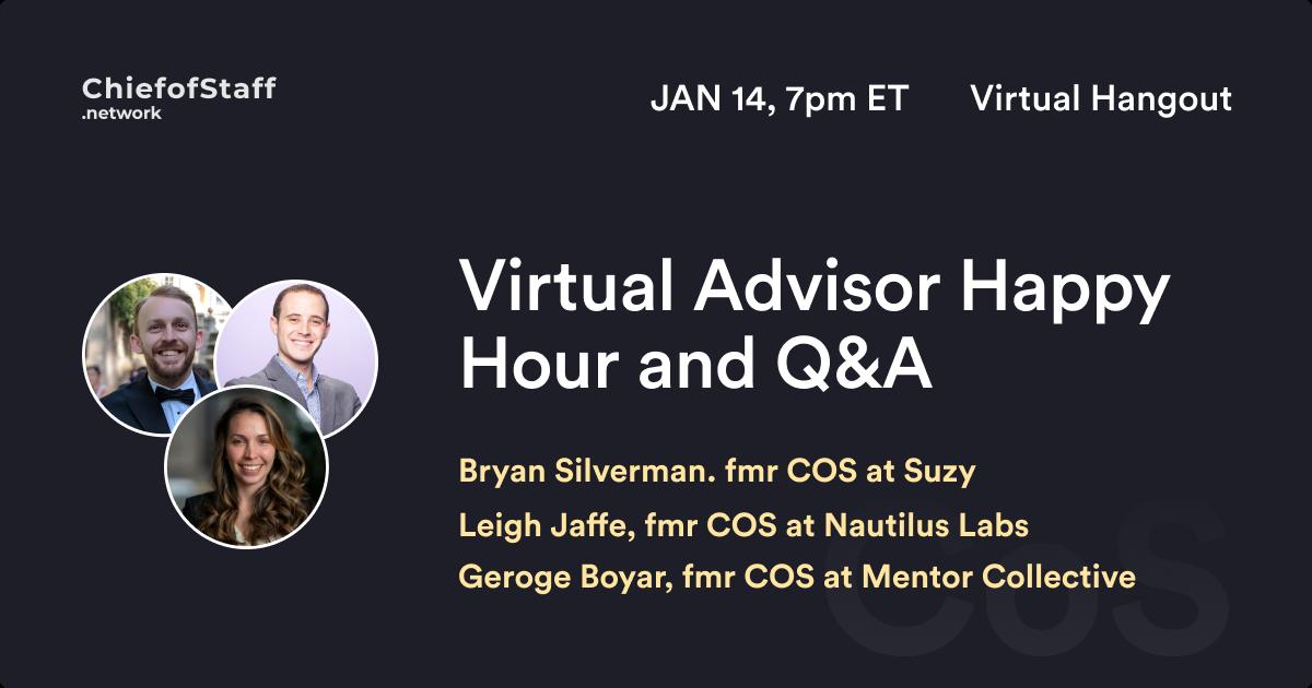Virtual Advisor Happy Hour and Q&A